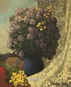 1950's French Signed French Modernist Oil Lilac Flowers Against Lace Landscape