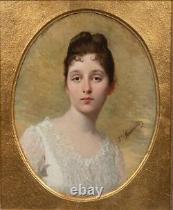 19th Century French Portrait Of A Young Girl In A Whole Dress by L MACCAUD