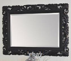 48 x 36 LG Black Roccoco Style Mirror Hand Carved Wooden 6.5 Wide Frame