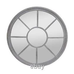 Antic by Casa Chic Round French Window Mirror in Stone Grey Solid Frame 90cm