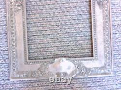 Antique 1800s French Silver Metal White Mirror/Picture Frame. NICE DESIGN