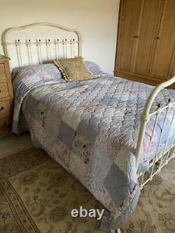 Antique Cast Iron Double Bed Frame Old White With Expanding Slatted Base