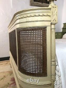 Antique French Demi Corbeille Cane Bergère Double Bed Frame