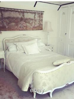 Antique French Double Bed Frame Upholstery With Matching Bedding Pillows Curtain