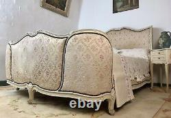 Antique French Full Corbeille King Size Bed Frame Curved Headboard & Footboard