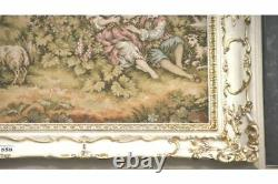 Antique French Love Garden Lake Picture Tapestry In Ornate White Frame