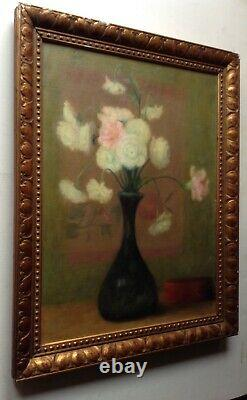 Antique French Oil Impressionism Painting Bouquet of Flowers White Roses c1912