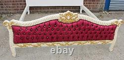 Antique French Style Bed Frame White & Burgundy Handmade Bed C313