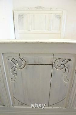 Antique French White Bed Frame 4 ft x 6 ft Small Double Width x Short Length
