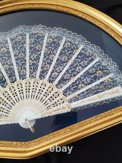 Antique French White Lace Hand Fan Framed In Blue Back Shadowbox 21.75 X 14.125