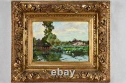 Antique French landscape scene fishing from a bridge with white ducks 18½ x 2