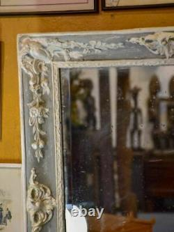 Antique French mirror with grey and white frame 30 ¼ x 35 ½