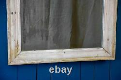 Antique French mirror with wooden frame and white patina original glass 34¼ x