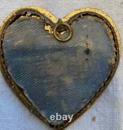 Antique Heart Shaped Champleve Picture Frames Pair