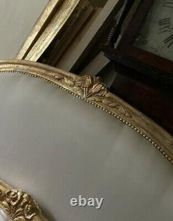Antique Solid French king size Bed frame Gold Gilded Upholstered Ivory Silk