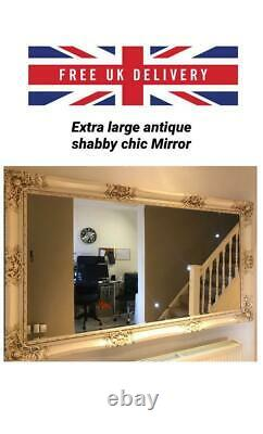 Antique Style Cream Extra Large Full size Carved French Frame Mirror 79 x 44