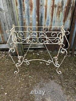 Antique Vintage Weathered White Wrought Iron Metal Plant Stand Frame Ornate