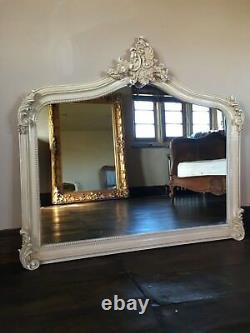 Antique White Cream Ivory French Shabby Chic Over Mantle Arch Wall Mirror 143cm