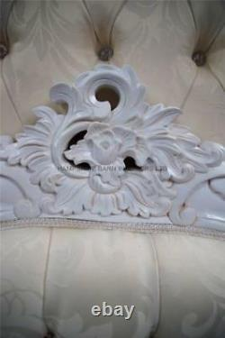 Antique White French Style Chateau Bed Frame 5ft King Size Ivory Damask Fabric
