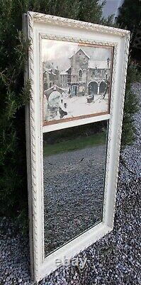 Antique mirror, French overmantel, foxed, with etching, carved wooden frame