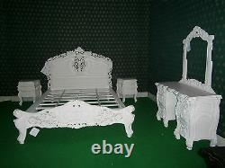 BESPOKE French baroque designer 6 Pieces Rococo bed set wth King 5'bed frame