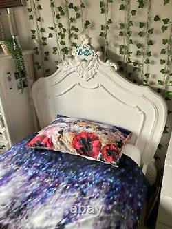 Beautiful Chateau French Hand Carved White Wood Single Bed Frame