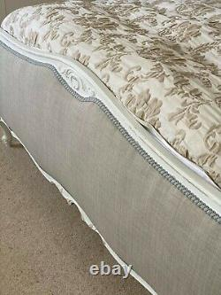 Beautiful King sized vintage French wooden bed frame with padded headboard