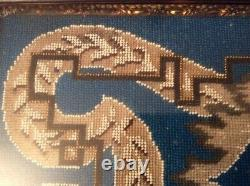 Beautiful Walnut Framed Antique French Beaded TapestryBlue, White, Silver Floral