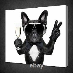 Black French Bulldog Canvas Picture Print Wall Art Free Fast Uk Delivery