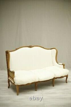 C. 1900 Carved frame French Wingback sofa