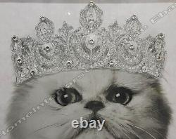 Cat/tiger/French dog pictures with shimmer, crown with crystals & mirror frames