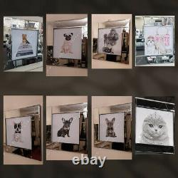 Cat with crown/dog with crystals, liquid art pictures & mirror wall art decor