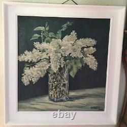 Château Vintage Antique French Flower Oil Painting White Budliegh 1946 Frame Pic