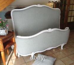 Demi Corbeille French Louis Double Bed Frame Soft Grey White Frame