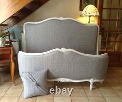 Double French Louis Bed Frame Demi Corbeille Grey White Frame