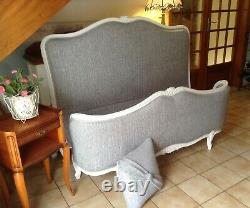 Double French Louis Bed Frame New Grey Fabric White Frame Demi Corbeille