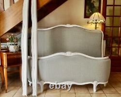 Double Louis Demi Corbeille Bed Frame Vintage French Soft Grey White Frame