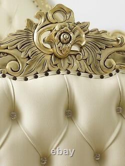 Double bed frame Bryanna French Baroque style gold leaf faux leather champagne b