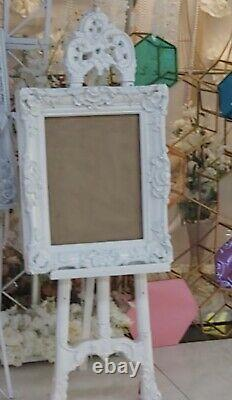 Events White French Easel With Photo Frame For Wedding, baby Shower, Parties