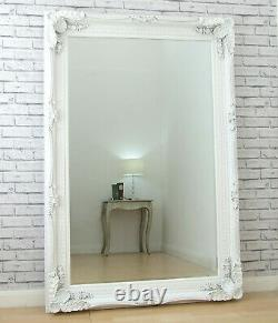 Extra-Large Louis Ornate Carved French Wall Leaner Mirror White 178.5cm x 117cm