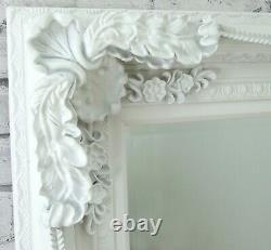 Extra-Large Louis Ornate Carved French Wall Leaner Mirror White 70.25 x 46