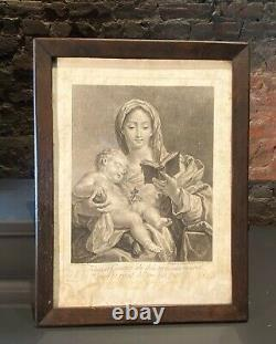French Antique Black and White Framed Print Woman with Child (41.5x32.5cm)