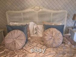 French Bedroom Co, French Provencal Antique White Rattan Super King Bed Frame