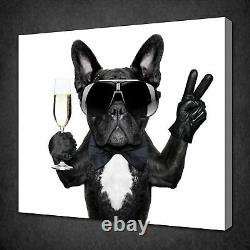 French Bulldog Drinking Champagne Funky Animal Canvas Print Wall Art Picture