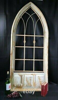 French Country Wood Metal Gothic Window Frame, Distressed Wall Decor A