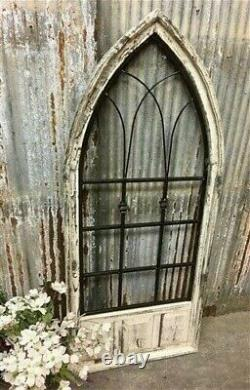 French Country Wood Metal Gothic Window Frame, Distressed Wall Decor B