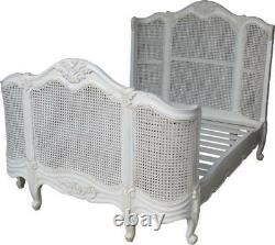 French Curved Rattan Bed Frame With High Footboard Antique White B003P