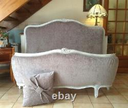 French Double Bed Frame New Grey Chennile Fabric White Over Grey Frame