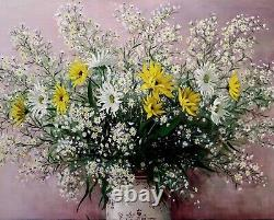 French Impressionist 1930s Still life of White & Yellow Daisies-Oil painting