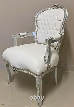 French Louis Style Shabby Chic Chair White Leatherette Faux Leather Silver Frame